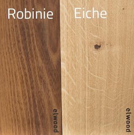 Beispielhölzer der Sorten Robinie und Eiche